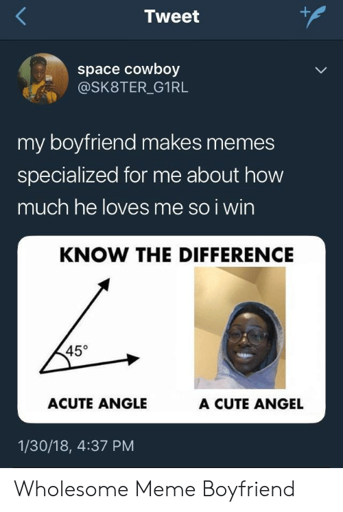 Cute, Meme, and Memes: Tweet  space cowboy  @SK8TER_G1RL  my boyfriend makes memes  specialized for me about how  much he loves me so i wirn  KNOW THE DIFFERENCE  45°  ACUTE ANGLE  A CUTE ANGEL  1/30/18, 4:37 PM Wholesome Meme Boyfriend