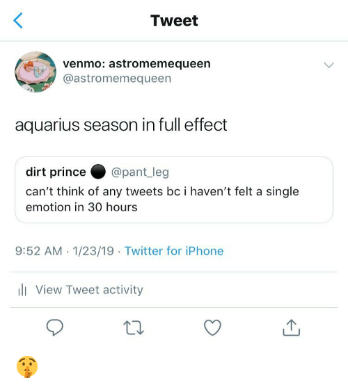 Iphone, Memes, and Prince: Tweet  venmo: astromemequeen  @astromemequeen  aquarius season in full effect  dirt prince@pant_leg  can't think of any tweets bc i haven't felt a single  emotion in 30 hours  9:52 AM.1/23/19 Twitter for iPhone  li View Tweet activity 🤫
