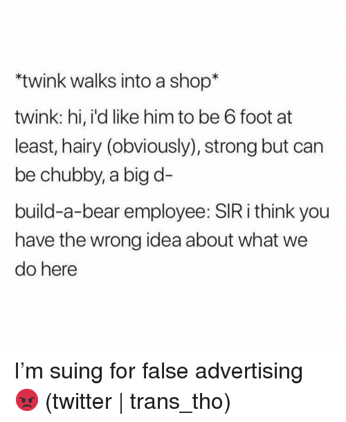 Build a Bear: twink walks into a shop*  twink: hi, i'd like him to be 6 foot at  least, hairy (obviously), strong but can  be chubby, a big d-  build-a-bear employee: SIR i think you  have the wrong idea about what we  do here I'm suing for false advertising 😡 (twitter | trans_tho)