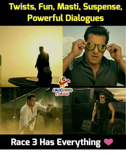 dialogues: Twists, Fun, Masti, Suspense,  Powerful Dialogues  LAUGHING  Race 3 Has Everything