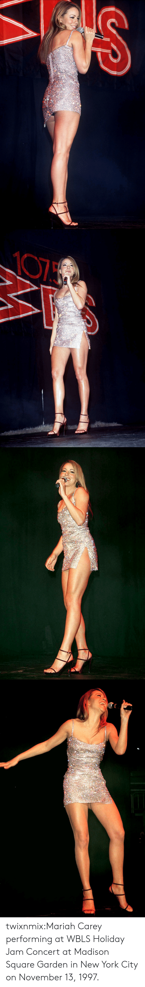 in-new-york-city: twixnmix:Mariah Carey performing at WBLS Holiday Jam Concert at Madison Square Garden in New York City on November 13, 1997.