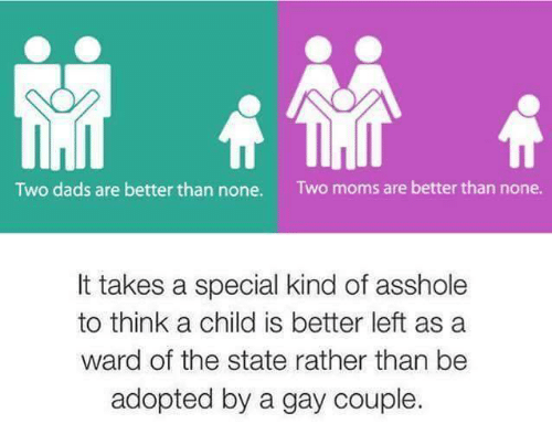 Moms, The State, and Asshole: Two dads are better than none.  Two moms are better than none.  It takes a special kind of asshole  to think a child is better left as a  ward of the state rather than be  adopted by a gay couple.