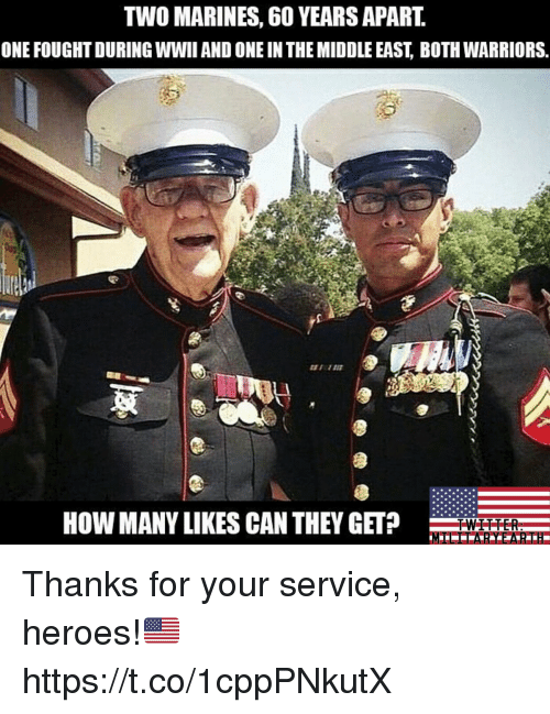 Memes, Heroes, and Marines: TWO MARINES, 6O YEARS APART.  ONE FOUGHT DURING WWII AND ONE IN THE MIDDLE EAST, BOTH WARRIORS.  HOW MANY LIKES CAN THEY GET Thanks for your service, heroes!🇺🇸 https://t.co/1cppPNkutX
