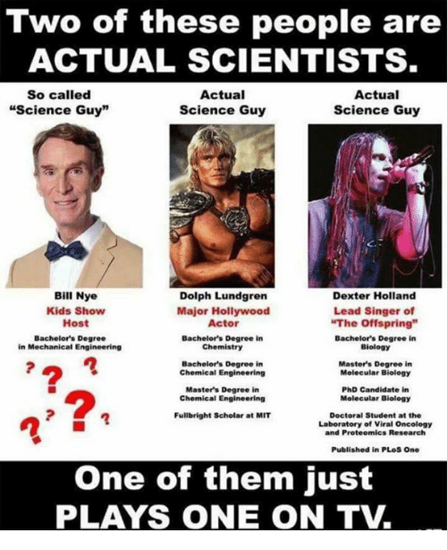 "Bill Nye, Memes, and Dexter: Two of these people are  ACTUAL SCIENTISTS  So called  Actual  Actual  ""Science Guy""  Science Guy  Science Guy  Bill Nye  Dolph Lundgren  Dexter Holland  Kids Show  Major Hollywood  Lead Singer of  ""The offspring""  Host  Actor  Bachelor's Degree  Bachelor's Degree in  Bachelor's Degree in  Chemistry  Biology  in Mechanical Engineering  Bachelor's Degree in  Master's Degree in  Chemical Engineering  Molecular Biology  Master's Degree in  PhD Candidate in  Chemical Engineering  Molecular Biology  Fullbright Scholar at MIT  Doctoral Student at the  Laboratory of Viral Oncology  and Proteomics Research  Published in PLoS One  One of them just  PLAYS ONE ON TV"