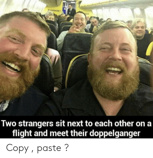 doppelganger: Two strangers sit next to each other on a  flight and meet their doppelganger Copy , paste ?