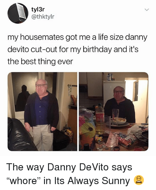 "Birthday, Life, and Best: tyl3r  @thktylr  my housemates got me a life size danny  devito cut-out for my birthday and it's  the best thing ever The way Danny DeVito says ""whore"" in Its Always Sunny 😩"
