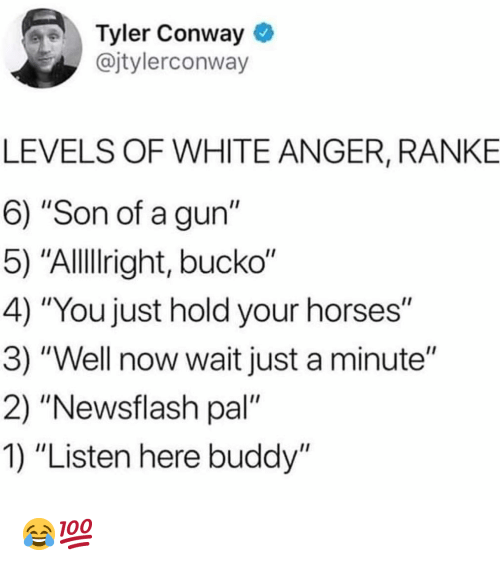 """Conway, Funny, and Horses: Tyler Conway  @jtylerconway  LEVELS OF WHITE ANGER, RANKE  6) """"Son of a gun""""  5) """"Allllright, bucko""""  4) """"You just hold your horses""""  3) """"Well now wait just a minute""""  2) """"Newsflash pal""""  1) """"Listen here buddy"""" 😂💯"""