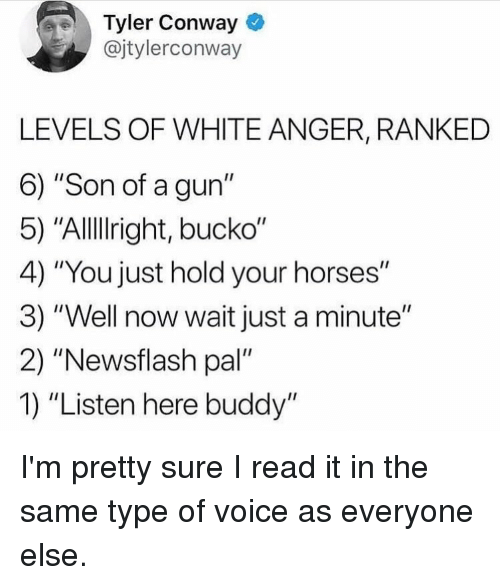 """Conway, Horses, and Voice: Tyler Conway  @jtylerconway  LEVELS OF WHITE ANGER, RANKED  6) """"Son of a gun""""  5) """"Allllright, bucko""""  4) """"You just hold your horses""""  3) """"Well now wait just a minute""""  2) """"Newsflash pal""""  1) """"Listen here buddy"""" I'm pretty sure I read it in the same type of voice as everyone else."""