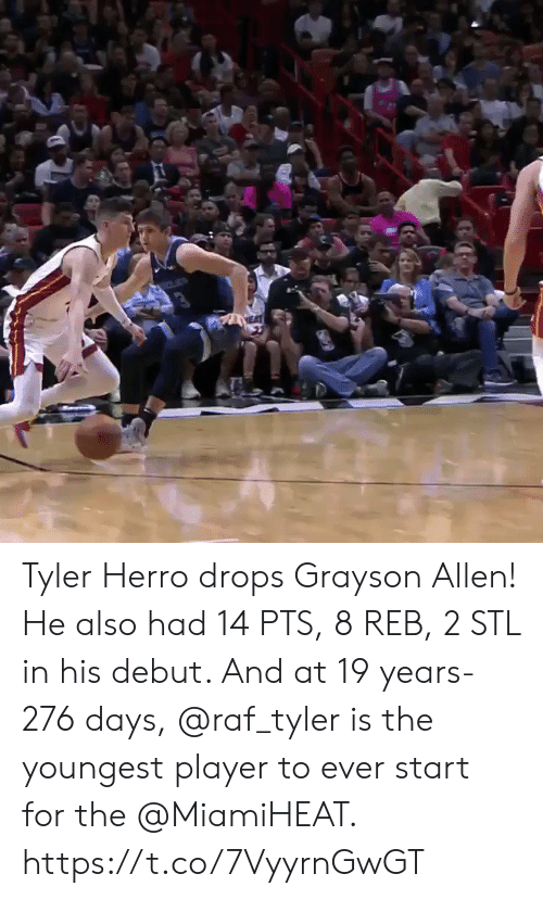 Youngest: Tyler Herro drops Grayson Allen!   He also had 14 PTS, 8 REB, 2 STL in his debut. And at 19 years-276 days, @raf_tyler is the youngest player to ever start for the @MiamiHEAT.    https://t.co/7VyyrnGwGT