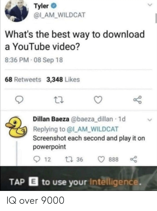 Tyler: Tyler  @L_AM_WILDCAT  What's the best way to download  a YouTube video?  8:36 PM- 08 Sep 18  68 Retweets 3,348 Likes  Dillan Baeza @baeza_dillan 1d  Replying to @l_AM_WILDCAT  Screenshot each second and play it on  powerpoint  12  t 36  888  TAP E to use your Intelligence. IQ over 9000