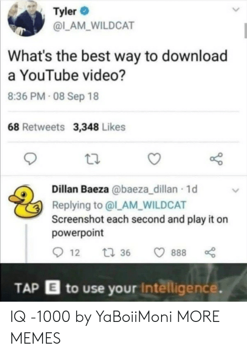 Tyler: Tyler  @LAM_WILDCAT  What's the best way to download  a YouTube video?  8:36 PM- 08 Sep 18  68 Retweets 3,348 Likes  Dillan Baeza @baeza_dillan 1d  Replying to @l_AM_WILDCAT  Screenshot each second and play it on  powerpoint  12  t 36  888  TAP E to use your Intelligence. IQ -1000 by YaBoiiMoni MORE MEMES