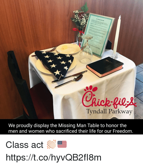 Memes, Women, and Freedom: Tyndall Parkway  We proudly display the Missing Man Table to honor the  men and women who sacrificed their lite for our Freedom Class act 👏🏻🇺🇸 https://t.co/hyvQB2fI8m