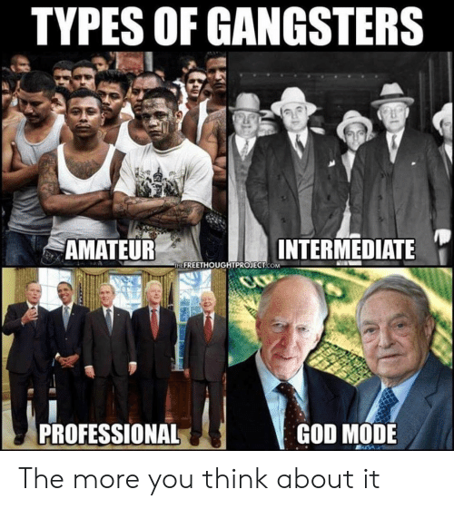 gangsters: TYPES OF GANGSTERS  '  AMATEUR  INTERMEDIATE  HE FREETHOUGHTPROJECT.COM  PROFESSIONAL  GOD MODE The more you think about it