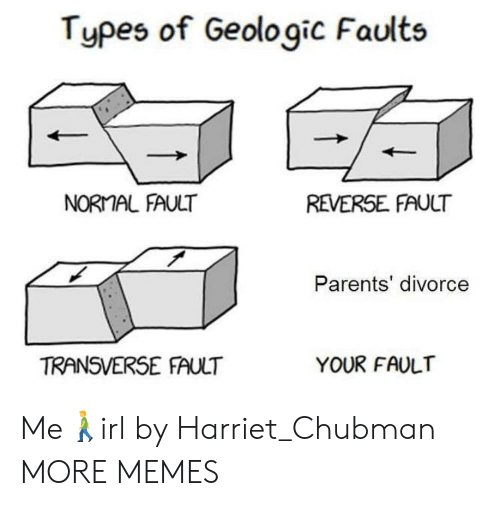 Types Of: Types of Geologic Faults  NORMAL FAULT  REVERSE FAULT  Parents' divorce  TRANSVERSE FAULT  YOUR FAULT Me🚶‍♂️irl by Harriet_Chubman MORE MEMES