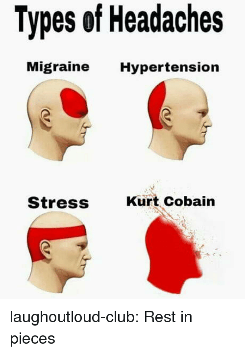 Club, Tumblr, and Blog: Types of Headaches  Migraine Hypertension  Stress  Kurt Cobain laughoutloud-club:  Rest in pieces
