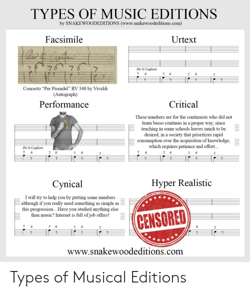 """Internet, Music, and Help: TYPES OF MUSIC EDITIONS  by SNAKEWOODEDITIONS (www.snakewoodeditions.com)  Facsimile  Urtext  676 76  7  Per li Coglioni  7  6  7  6  7  7  Concerto """"Per Pisendel"""" RV 340 by Vivaldi  (Autograph)  Performance  Critical  These numbers are for the continuists who did not  learn basso continuo in a proper way, since  teaching in some schools leaves much to be  desired, in a society that prioritizes rapid  consumption  which requires patience and effort...  over the acquisition of knowledge  Per li Coglioni  7  6  6  6  6  6  7  7  7  7  7  7  Hyper Realistic  Сynical  I will try to help you by putting some numbers  although if you really need something as simple as  this progression... Have you studied anything else  than music? Internet is full of job offers!  CENSORED  7  6  6  6  6  7  7  7  7  www.snakewoodeditions.com  ШI Ш1 Types of Musical Editions"""