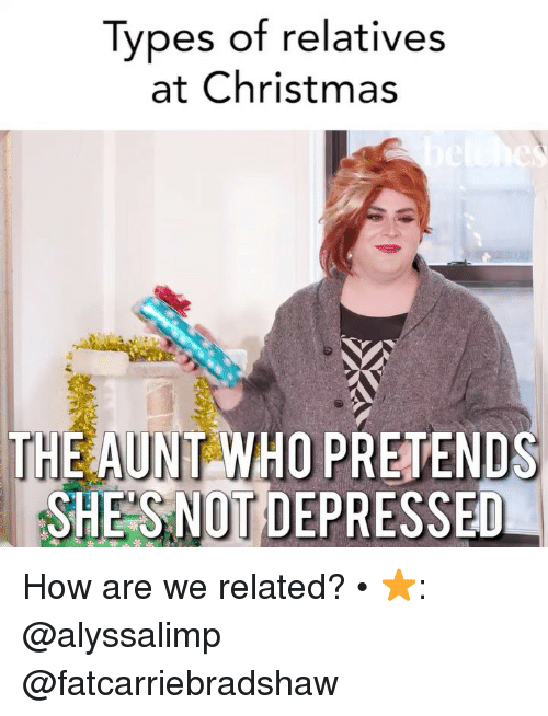 Christmas, Girl Memes, and How: Types of relatives  at Christmas  THE AUNT WHO PRETENDS  SHES NOT DEPRESSED How are we related? • ⭐️: @alyssalimp @fatcarriebradshaw