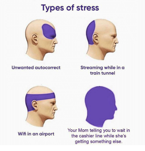 Autocorrect: Types of stress  Unwanted autocorrect  Streaming while in a  train tunnel  Your Mom telling you to wait in  the cashier line while she's  getting something else  Wifi in an airport