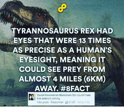 Memes, Meaning, and Tyrannosaurus: TYRANNOSAURUS REX HAD  EYES THAT WERE 13 TIMES  AS PRECISE AS A HUMAN'S  EYESIGHT, MEANING IT  COULD SEE PREY FROM  ALMOST 4 MILES (6KM)  AWAY. #8 FACT  Denzil Kivenderan Manickum Still couldnt see  that asteroid coming  Não gosto Responder山3187 48 ás 7:02