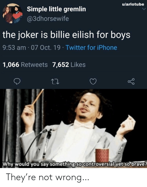 Iphone, Joker, and Twitter: u/arlotube  Simple little gremlin  @3dhorsewife  the joker is billie eilish for boys  9:53 am 07 Oct. 19 Twitter for iPhone  1,066 Retweets 7,652 Likes  Why would you say something so controversial yet so brave? They're not wrong…