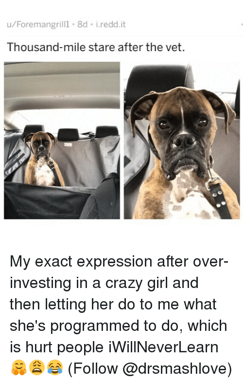 Crazy, Memes, and Girl: u/Foremangril 8d i.redd.it  Thousand-mile stare after the vet. My exact expression after over-investing in a crazy girl and then letting her do to me what she's programmed to do, which is hurt people iWillNeverLearn 🤗😩😂 (Follow @drsmashlove)