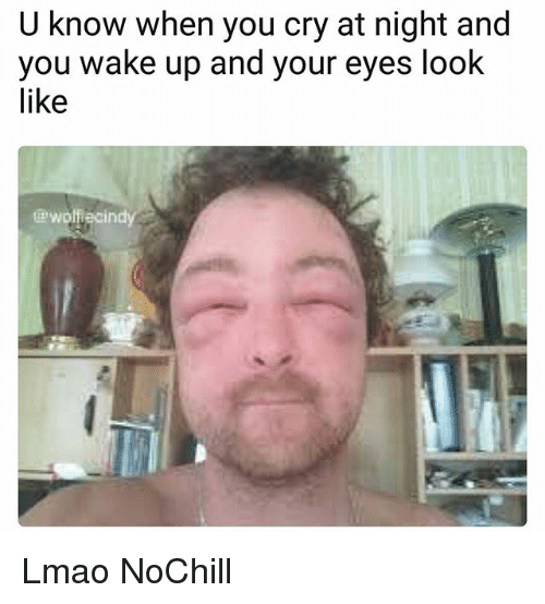 Funny, Lmao, and Cry: U know when you cry at night and  you wake up and your eyes look  like  wolfiecin Lmao NoChill