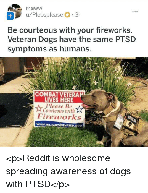 Dogs, Reddit, and Fireworks: u/Plebsplease 3h  Be courteous with your fireworks  Veteran Dogs have the same PTSD  symptoms as humans.  COMBAT VETERAN  LIVES HERE  Please Be  Courteous with  Fireworks  www.MILITARYWITHPTSD.ORG <p>Reddit is wholesome spreading awareness of dogs with PTSD</p>