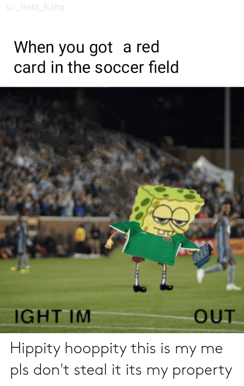 Reddit, Soccer, and Haha: u/_Rekt_haha  When you got a red  card in the soccer field  IGHT IM  OUT Hippity hooppity this is my me pls don't steal it its my property