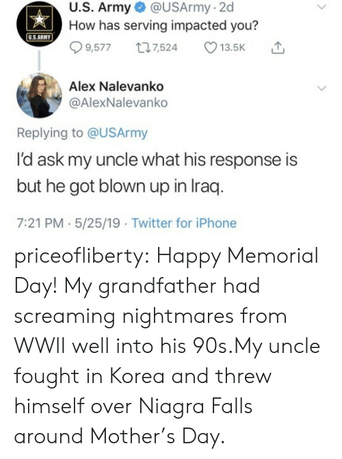 Memorial: U.S. Army @USArmy-2d  How has serving impacted you?  USARMY  9,5777,524 13.5K  Alex Nalevanko  @AlexNalevanko  Replying to @USArmy  l'd ask my uncle what his response is  but he got blown up in Iraq  7:21 PM.5/25/19 Twitter for iPhone priceofliberty:  Happy Memorial Day!  My grandfather had screaming nightmares from WWII well into his 90s.My uncle fought in Korea and threw himself over Niagra Falls around Mother's Day.