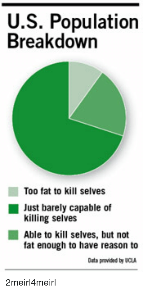 Fat, Reason, and Ucla: U.S. Population  Breakdown  Too fat to kill selves  killing selves  fat enough to have reason to  Just barely capable of  Able to kill selves, but not  Data provided by UCLA