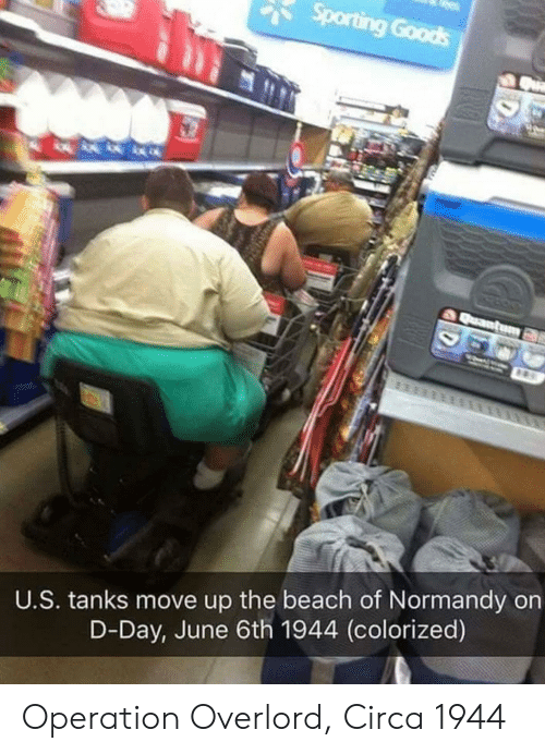 Beach, Overlord, and D-Day: U.S. tanks move up the beach of Normandy on  D-Day, June 6th 1944 (colorized) Operation Overlord, Circa 1944