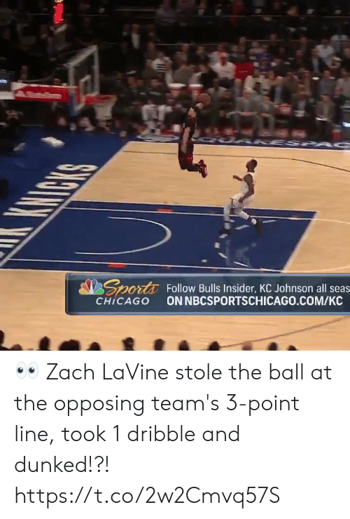 Chicago: UAKSSP  KHICKS  Sports  Follow Bulls Insider, KC Johnson all seas  ON NBCSPORTSCHICAGO.COM/KC  CHICAGO 👀 Zach LaVine stole the ball at the opposing team's 3-point line, took 1 dribble and dunked!?!   https://t.co/2w2Cmvq57S