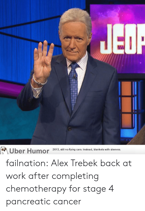 Alex Trebek, Cars, and Tumblr: Uber Humor  2013, still no flying cars. Instead, blankets with sleeves. failnation:  Alex Trebek back at work after completing chemotherapy for stage 4 pancreatic cancer