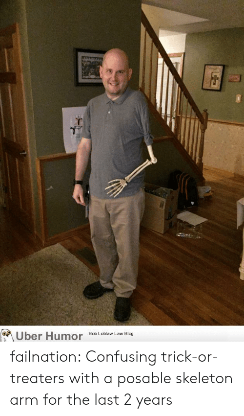 Confusing: Uber Humor  Bob Loblaw Law Blog failnation:  Confusing trick-or-treaters with a posable skeleton arm for the last 2 years