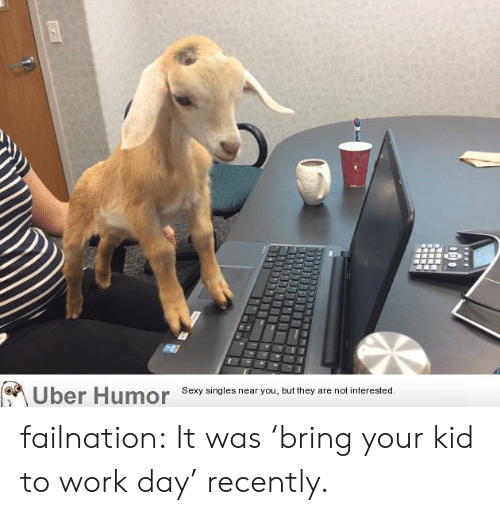 Sexy, Tumblr, and Uber: Uber Humor  Sexy singles near you, but they  are not interested. failnation:  It was 'bring your kid to work day' recently.