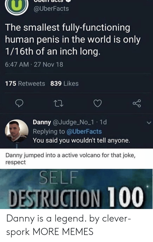 Dank, Memes, and Respect: @UberFacts  The smallest fully-functioning  human penis in the world is only  1/16th of an inch long.  6:47 AM 27 Nov 18  175 Retweets 839 Likes  Danny @Judge No_1 1d  Replying to @UberFacts  You said you wouldn't tell anyone.  Danny jumped into a active volcano for that joke,  respect  SELF  DESTRUCTION 100 Danny is a legend. by clever-spork MORE MEMES