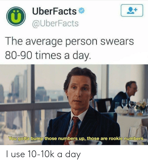bump: UberFacts  @UberFacts  1  The average person swears  80-90 times a day.  You gotta bump those numbers up, those are rookie numbers I use 10-10k a day