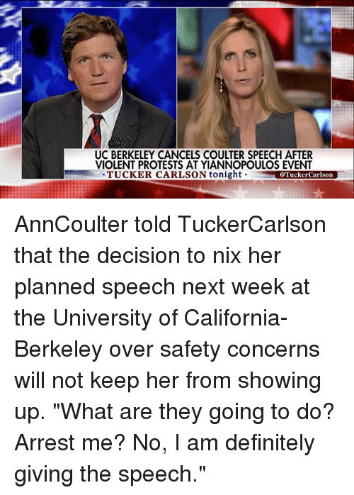UC BERKELEY CANCELS COULTER SPEECH AFTER VIOLENT PROTESTS AT