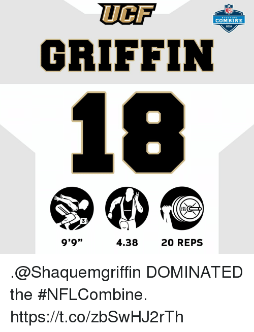 """Memes, Nfl, and 🤖: UCF  GRIFFIN  NFL  SCoUTING  COMBINE  2018  225  LBS  3  9'9""""  l099  4.38  20 REPS .@Shaquemgriffin DOMINATED the #NFLCombine. https://t.co/zbSwHJ2rTh"""