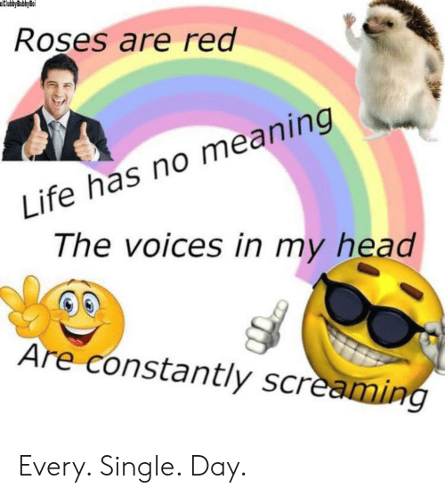 Head, Life, and Meaning: uClubbyBubbyBoi  Roses are red  Life has no meaning  The voices in my head  Are constantly screaming Every. Single. Day.