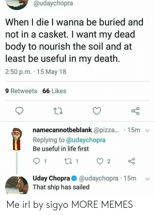 Dank, Life, and Memes: @udaychopra  When I die I wanna be buried and  not in a casket. I want my dead  body to nourish the soil and at  least be useful in my death.  2:50 p.m. 15 May 18  9 Retweets 66 Likes  namecannotbeblank @pizza.... 15m  Replying to @udaychopra  Be useful in life first  91 ti  Uday Chopra@udaychopra 15m  That ship has sailed Me irl by sigyo MORE MEMES