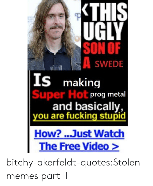 prog: UGLY  SON OF  SWEDE  S making  Super Hot  prog metal  and basically,  ou are fucking stupid  How? ..Just Watch  The Free Video> bitchy-akerfeldt-quotes:Stolen memes part II