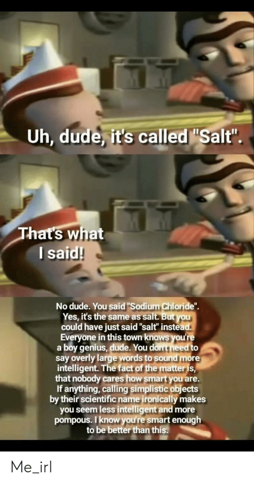 "Dude, Genius, and Irl: Uh, dude, it's called Salt  Thats what  l said!  No dude. You said""Sodium Chloride"".  Yes, it's the same as salt. But you  could have just said ""salt"" instea  Everyone in this town knows you're  a boy genius, dude. You dont need to  say overly large words to sound more  intelligent. The fact of the matters,  that nobody cares how smart you are.  If anything, calling simplistic objects  by their scientific name ironically makes  you seem less intelligent and more  pompous. I know you're smart enough  to be better than this Me_irl"