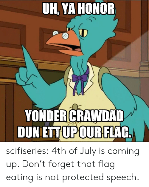 Tumblr, 4th of July, and Blog: UH, YA HONOR  YONDER CRAWDAD  DUN ETTUPOUR FLAG scifiseries:  4th of July is coming up. Don't forget that flag eating is not protected speech.