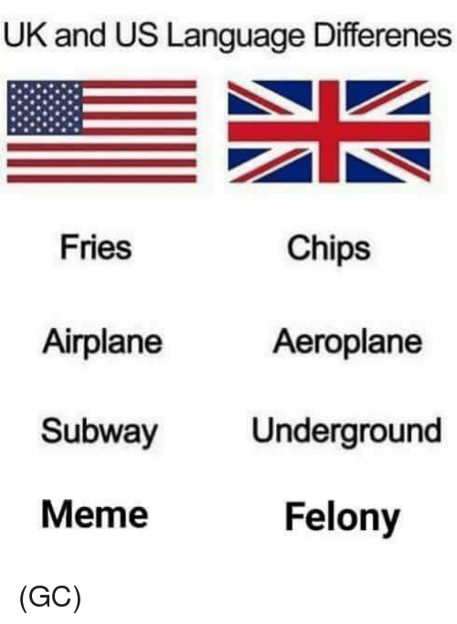 Meme, Memes, and Subway: UK and US Language Differenes  Chips  Fries  Airplane  Subway Underground  Meme  Aeroplane  Felony (GC)