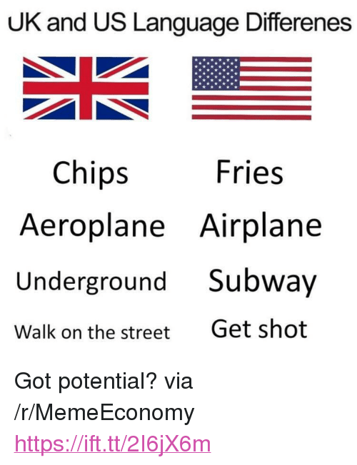 "Subway, Airplane, and Got: UK and US Language Differenes  Fries  Chips  Aeroplane Airplane  Underground Subway  Walk on the streetGet shot <p>Got potential? via /r/MemeEconomy <a href=""https://ift.tt/2I6jX6m"">https://ift.tt/2I6jX6m</a></p>"