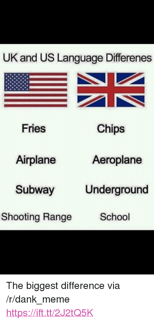 "Dank, Meme, and School: UK and US Language Differenes  Fries  Chips  Airplane  Aeroplane  Subway Underground  Shooting Range  School <p>The biggest difference via /r/dank_meme <a href=""https://ift.tt/2J2tQ5K"">https://ift.tt/2J2tQ5K</a></p>"