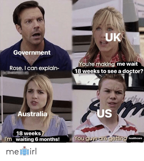 Doctor, Australia, and Rose: UK  Government  ou're making me wait  18 weeks to see a doctor?  Rose. I can explain-  US  Australia  8 weeks  waiting 6 months!  You guys-are gettin healthcare  I'm me🏥irl