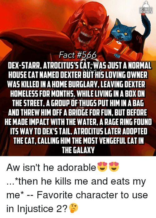 Memes, Dexter, and House: ULTIMATE  EROERCTS  Fact #566  DEX-STARR, ATROCITUS'5CAT WAS JUSTANORMAL  HOUSE CATNAMED DEXTER BUTHIS LOVING OWNER  WAS KILLED INAHOMEBURGLARY, LEAVING DEXTER  HOMELESSFORMONTHS. WHILE LIVINGINABOX ON  THESTREET, A GROUP OF THUGS PUT HIMIN A BAG  AND THREW HIM OFF ABRIDGE FOR FUN, BUT BEFORE  HE MADEIMPACT WITH THE WATER, ARAGE RINGFOUND  ITS WAY TODEX'STAIL. ATROCITUS LATER ADOPTED  THECAT CALLING HIM THE MOST VENGEFUL CAT IN  THE GALAXY Aw isn't he adorable😍😍...*then he kills me and eats my me* -- Favorite character to use in Injustice 2?🤔
