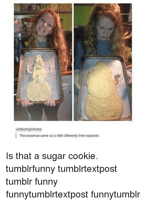 snowmans: ultrafun  ctures  The snowman came out a ittle darrerently then expected. Is that a sugar cookie. tumblrfunny tumblrtextpost tumblr funny funnytumblrtextpost funnytumblr